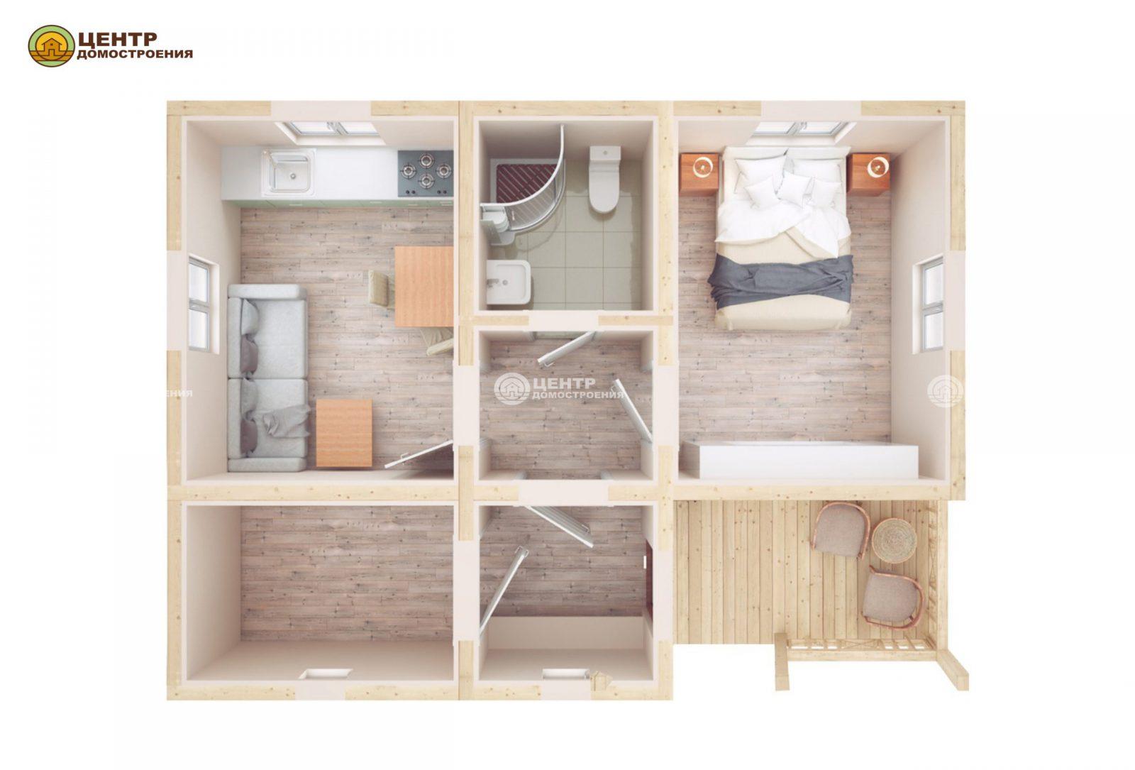 Проект одноэтажного дома 8 на 6