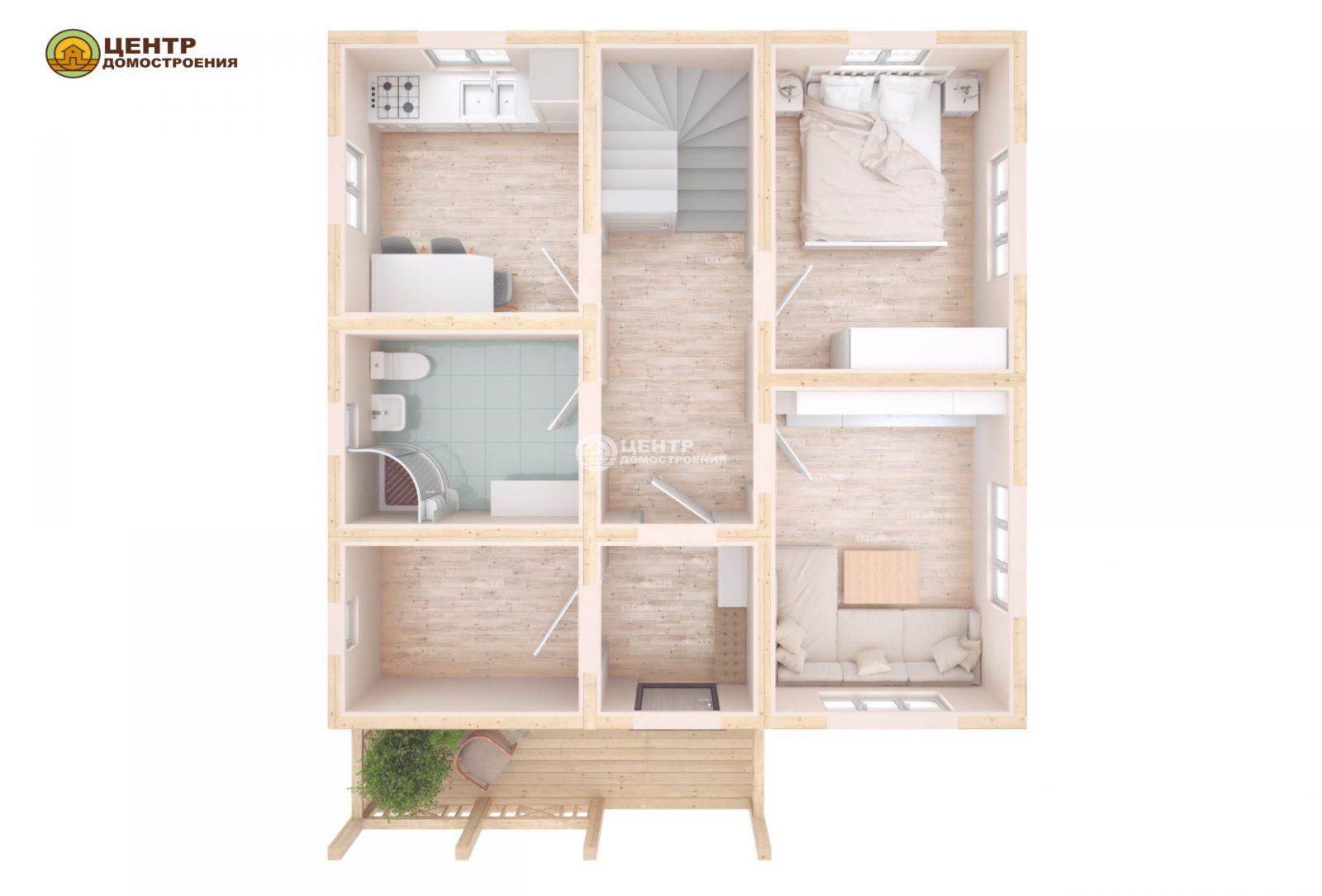 Проект двухэтажного дома 8 на 9