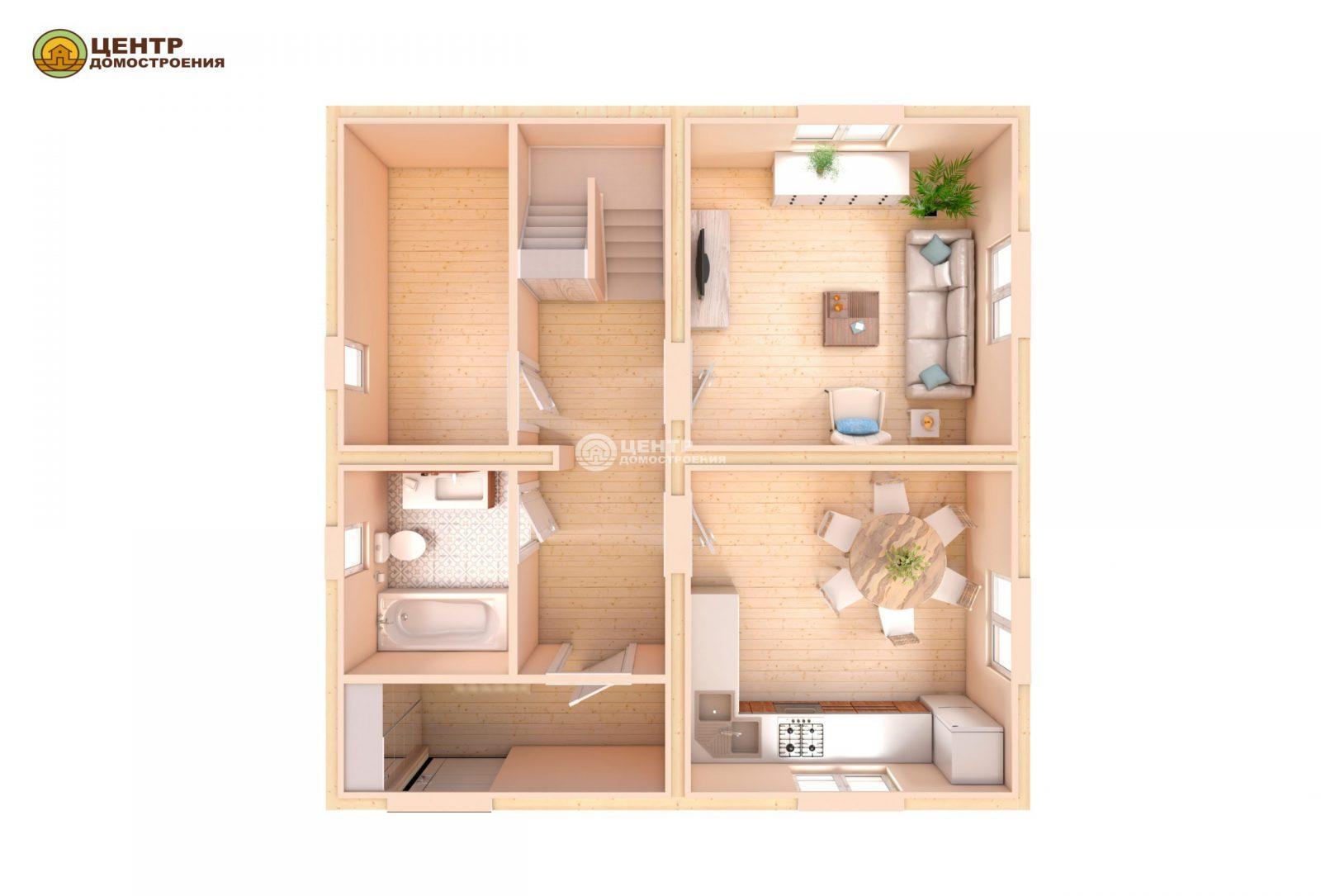 Проект деревянного дома 8 на 8