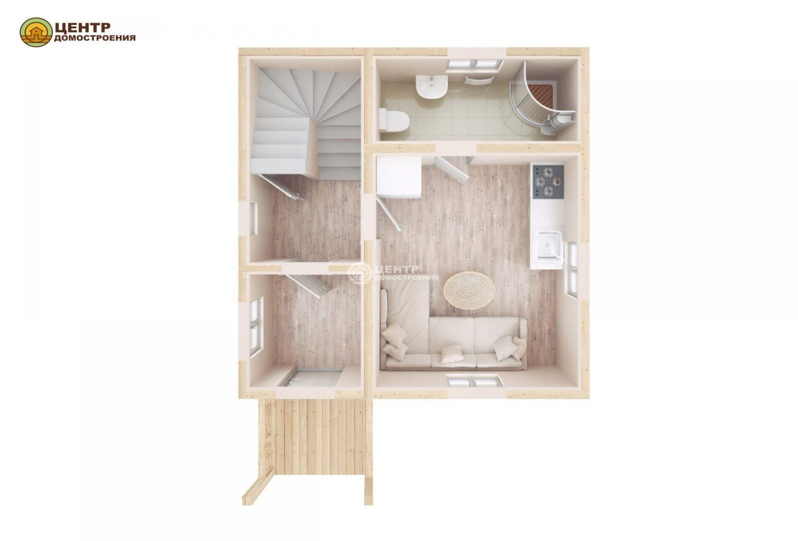 Проект деревянного дома с мансардой