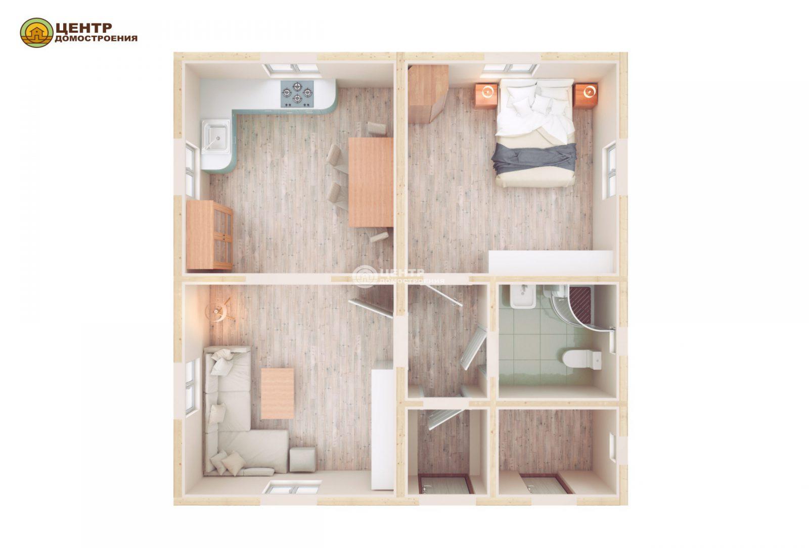 Проект одноэтажного дома 8 на 8