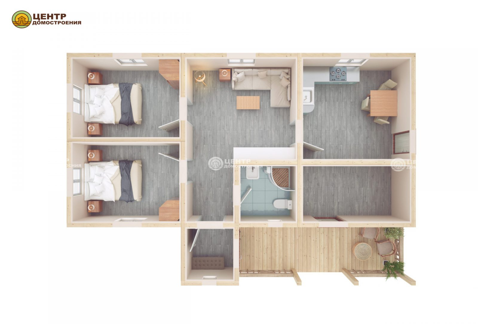 Проект одноэтажного дома 8 на 12