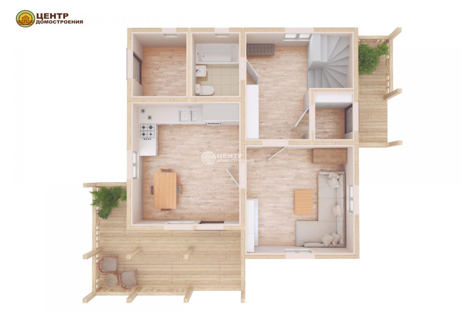 проект частного дома с мансардой
