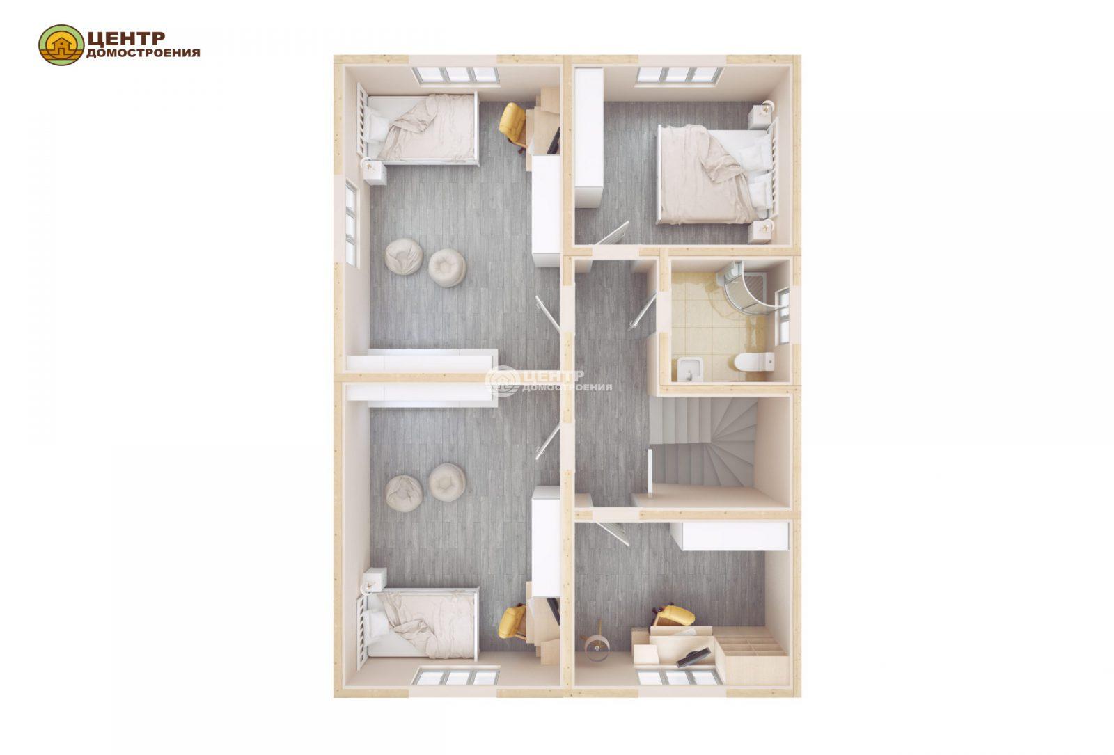 Проект дома с мансардой и верандой